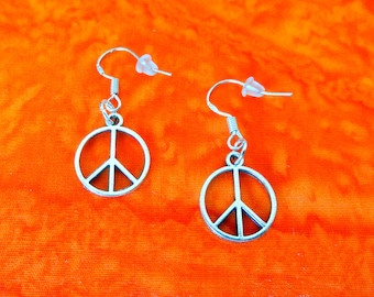 50% SALE Peace Sign Earrings..Peace Earrings..Peace Symbol Earrings..Peace Jewelry..Peace and Love..925 Sterling Silver Wires..FREE SHIPPING