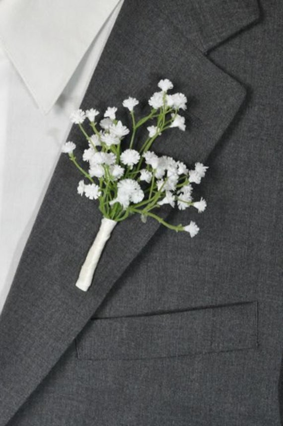 Wedding Flowers White Ivory Baby Breath Boutonniere Wrapped