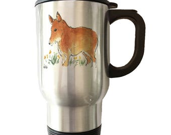Pembroke Welsh Corgi White, Gold, Silver Ceramic Mugs Stainless Steel Travel Mug Heat Morph Mug Welsh Corgi Art Corgi Lover Corgi Gift