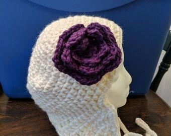 Ear Flap Winter Hat with Purple Flower