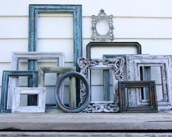 Set of 12 Open Frames - Moss Green, Blue, Sage, White - Wall Gallery - Nursery - Wedding - Vintage Frames - Farmhouse - Boho Chic - Ocean