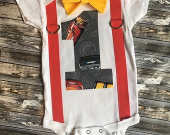 Disney Car's 3 themed boys birthday outfit, lightening mcqueen onesie with suspenders and bow tie