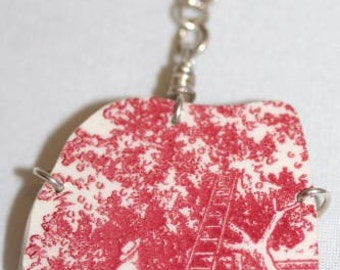 Red Toile Apple Orchard Necklace