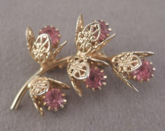 Gold Tone and Pink Rhinestone Floral Spray Pin 1950-60s