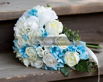 Cascading wedding bouquet, blue and ivory bridal bouquet, REAL TOUCH wedding bouquet with hydrangea and peonies, real touch flowers