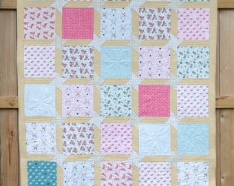 Handmade Baby Quilts, Baby Quilts, Baby Girl Quilts, Baby Shower Gifts, Twin Size Quilts, Garden Bunnies Quilt