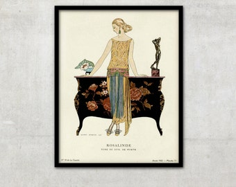 "Fine Art print of Art Deco vintage fashion illustration ""Rosalinde"" by George Barbier, IL042"