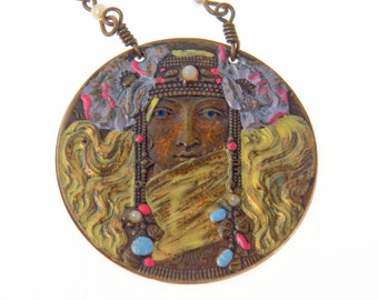 Klimt Inspired Art Nouveau Pendant Necklace