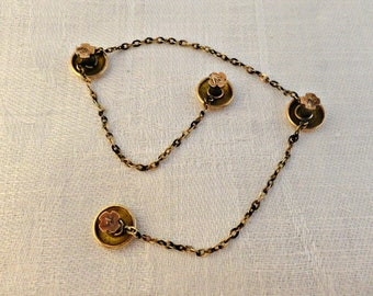 Victorian Shirt Stud Gold Filled Set on Chain, Antique Chain Linked Shirt Studs