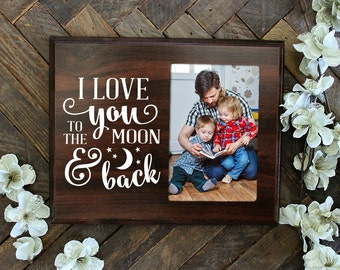 FREE SHIPPING I love you to the moon and back picture holder photo holder