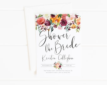 Bridal Shower Invitation, Fall Bridal Shower, Orange Maroon Pink Florals, Shower the Bride Modern Printable Invite, Autumn Flower Wedding