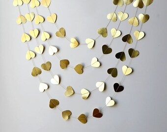 Gold Heart garland, Valentines Day Decor, Valentines garland, Heart Garland, Gold garland, Valentines day decorations