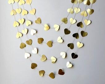 Gold Heart garland, Valentines Day Decor, Valentines garland, Hearts, Gold garland, Valentines day decorations
