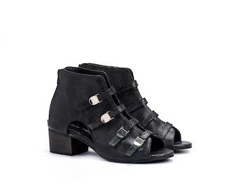 Women Black Leather Booties Sandals / High Heel Shoes / Strappy Summer Sandals / Snake Skin Pattern Shoes / Elegant Slingbacks - Spider