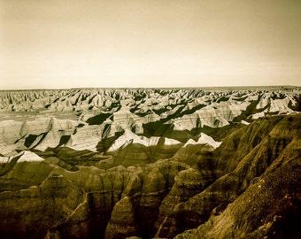 Canyons of the Badlands Landscape Photography, Sepia Photo, South Dakota Print, Tinted, Mars Surface, Fine Art Photo Print