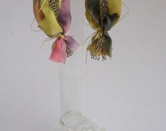 earrings, dangle earrings, earrings, pink and green, rosy