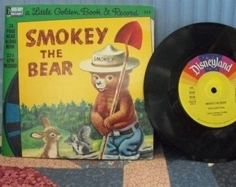 Smokey The Bear Vintage Little Golden Book with Record