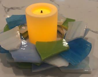 Tumbled Glass Candleholders