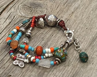 Festive Bracelet With Antique Trade Beads-Turquoise and Sterling Silver