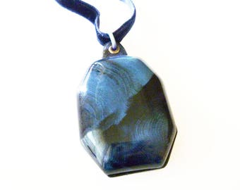 Art Deco Celluloid Locket Necklace - Antique Locket, Sweetheart Jewelry, Navy Teal, Velvet Ribbon, Art Deco Necklace, Art Deco Jewelry