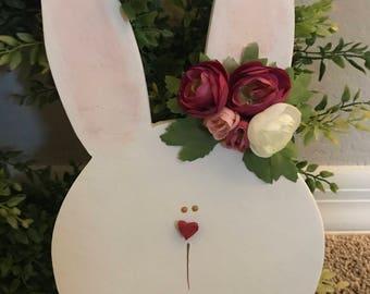 Bunny, Easter Decor, Wood Bunny, Easter Bunny, Country Bunny, Spring Bunny, Sweet Bunny, Baby Bunny, Floral Bunny