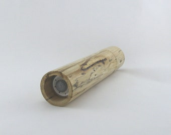Spices and peppermill grinder in spalted Maple, Cylinder style with rod mechanisme  10,75 inch X 2 25 D, article no: 961