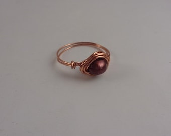Copper Wire Ring with Colored Freshwater Pearl