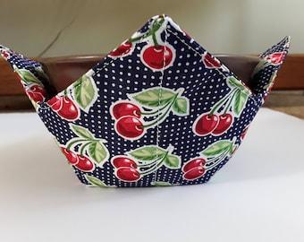 Microwave Bowl Cozy / Ice Cream Hand Warmer / Bowl Pot Holder - Cherries on Navy Blue