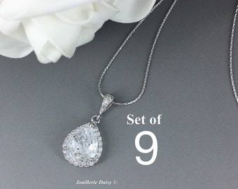Set of 9 Cubic Zirconia Necklace Bridesmaid Jewelry Bridal Necklace Crystal Necklace Bridesmaid Gift for Her Maid of Honor Pendant Necklace