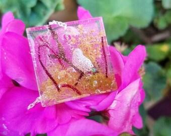 Butterfly moss nature terrarium necklace resin pendant