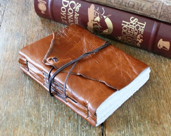 """Leather Journal . """"Go confidently in the direction of your dreams..."""" - Henry David Thoreau . rich gold tan leather (320 pgs)"""