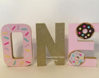 Donut letters,paper mache,8inches,donut party decorations,donut first birthday,cake smash photo props,donut theme birthday party,one letters