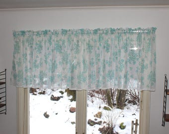Lovely vintage retro mid century 50s very long thin white Curtain Valance with floral pattern in turquoise.  Made in Sweden, Scandinavian
