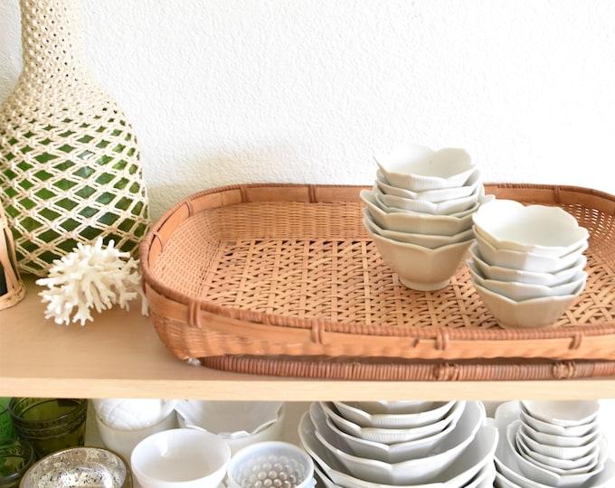 vintage bamboo rattan serving tray / tropical beach house decor