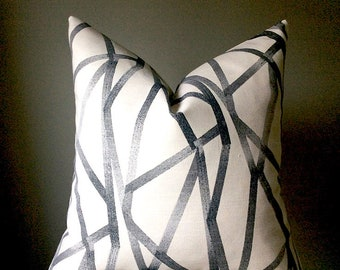 Pillow cover, Black Grey White pillow, Pillow cover with zippier, Many sizes avalable, made to order pillow cover, Throw pillow