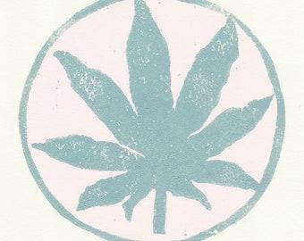 hemp leaf woodblock print, hemp leaf gifts, cannabis leaf, marijuana leaf gifts, hippie gifts