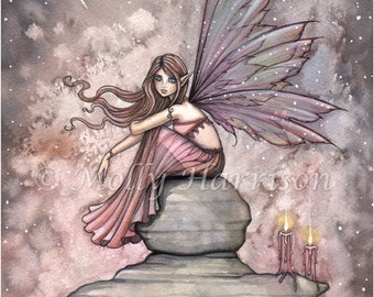 Fairy Art - Fairy Print -  Candlelight Fairy Print 9 x 12 Archival Giclee Print by Molly Harrison