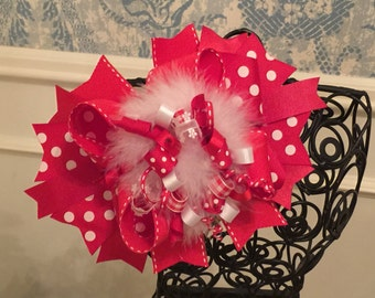 Red Polka Dot Over-The-Top Bow - OTT - Red Polka Dot - Valentine's Day - Love Bow - Christmas Bow