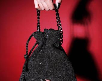 Pompadour Leather Handbag - Glitter Clutch - Drawstring Pouch w. Chain Handle - Bridesmaid Clutch - Medieval - Gothic - Victorian