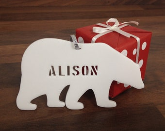 Personalised ornament decoration polar bear with name custom engraved laser cut acrylic Ideal Christmas holiday gift for family mom mum dad