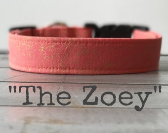 Dog Collar for Girls, DOG COLLAR, Pretty Dog Collar, Coral and Gold Dog Collar - The Zoey