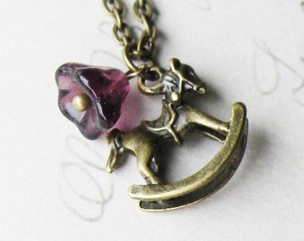 Pretty Floral Rocking Horse - Bronze Necklace