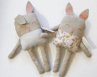Handmade Stuffed Linen Bunny
