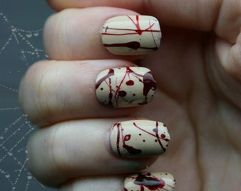 Blood Splatter Nails | Gothic Fake Nails | Horror Goth Blood Zombie Nails | Halloween Press On Nails |  Halloween Costume Nails | Cosplay