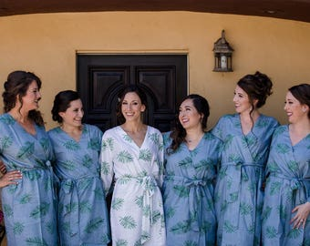 Premium Dusty Blue Bridesmaids Robes - Tropical Delight Pattern - Palm Leaves - Soft Rayon Fabric - Better Design - Getting ready robes