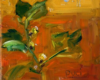 """Medicinal Plant, original oil painting, miniature oil painting, abstract impressionistic expressionistic painting by puci, 5x5"""""""