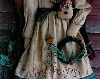 CHRiStMaS BLeSSiNg - AnGeL DoLL AnD SNoWMaN PiN - PDF ePattern - Primitive and Whimsical