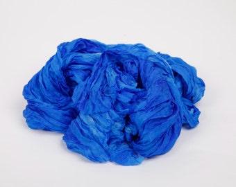 Blue silk scarf / brilliant blue ruffled silk scarf /  No iron scarf   /  Hand dyed / 100% habotai silk/ Shibori / scarves for women