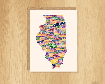 Hand Lettered Illinois Card, Illinois Gift, Illinois Shape, Illinois Cities Card, Illinois Notecard, Illinois Design