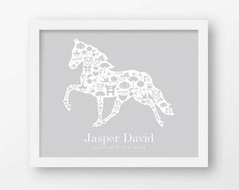 Year of the horse, 2014, Chinese zodiac, Custom name prints, Personalized name, Birthday gift, Newborn gift, Baby gift, Nursery wall art